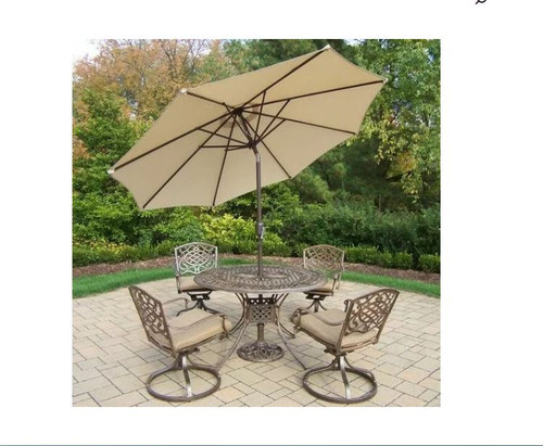Oakland Living Mississippi 5 Piece Dining Set with Sunbrella Cushions and Umbrella (2 Color Options)