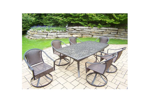 Oakland Living Tuscany 7 Piece Outdoor Dining Set with 6 Swivel Rockers