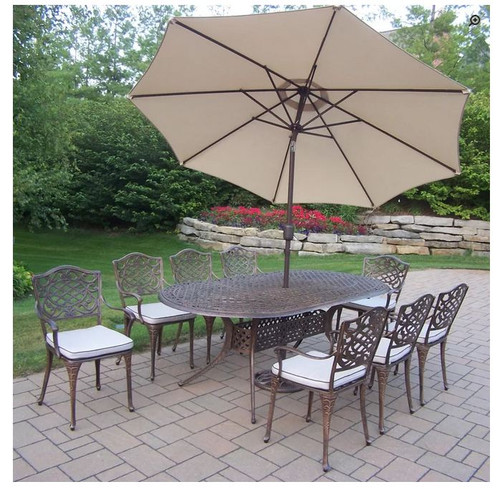 Oakland Living Mississippi 9 Piece Outdoor Dining Set with Cushions and Umbrella (2 Color Options)