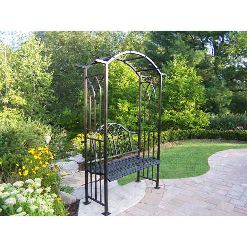 Oakland Living Royal Metal Outdoor Bench with Arbor