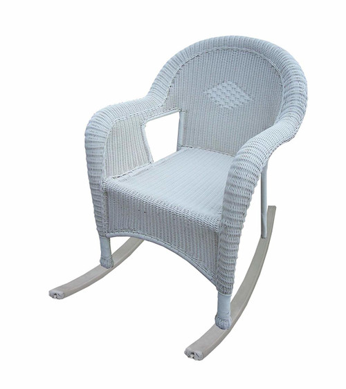 Oakland Living White Resin Wicker Rocker, Set of 2