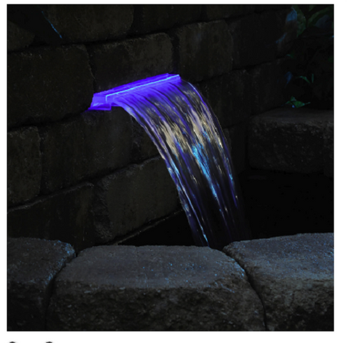 Pond Boss 14 in. Blue Lighted Waterfall LED Spillway DILM14B