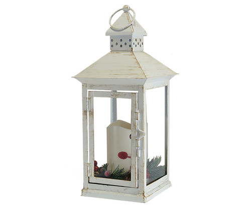 Mark Feldstein Holiday Berry and Pine White 13.5 LED Lantern (MFLNT135HBW)
