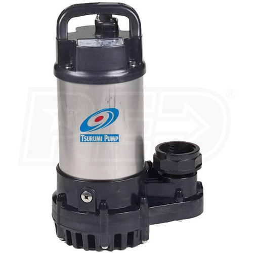 """Tsurumi 2OM - 40.5 GPM 1/5 HP (1.5"""") Submersible Stainless Steel Pond/Fountain Pump 2OM"""