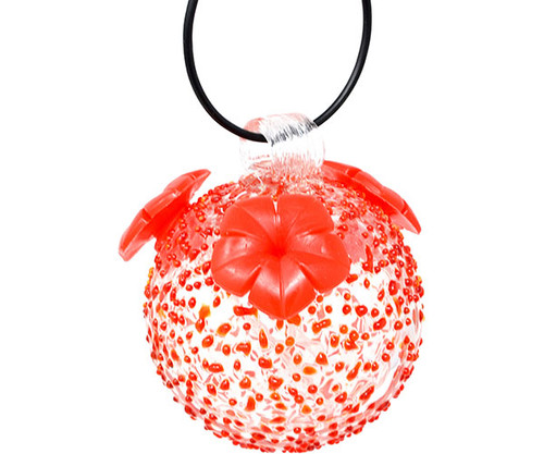 Gift Essentials Red Textured Glass Hummingbird Feeder GEHF002