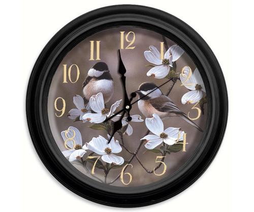 Reflective Art Springtime Chickadees 16 inch Wall Clock RAI 29047