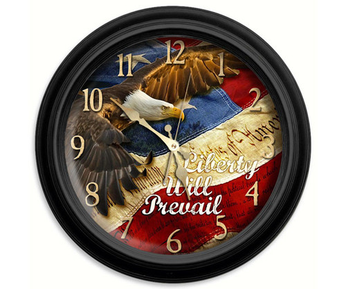Reflective Art Liberty will Prevail 16 in. Decorative Wall Clock RAI 29075