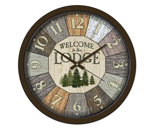 Reflective Art Welcome to the Lodge 15 inch Decorative Clock RAI 29305
