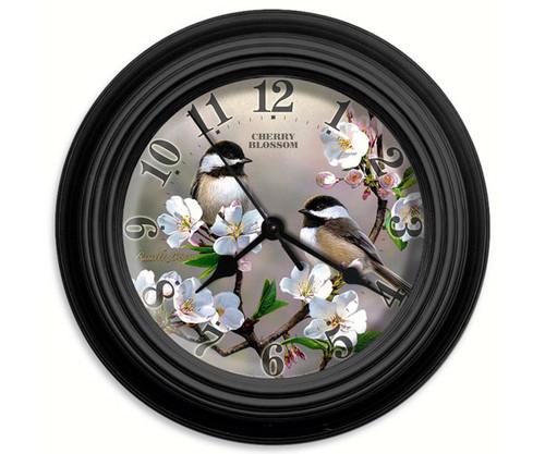 Reflective Art Cherry Blossom 10 in. Decorative Wall Clock RAI 29738