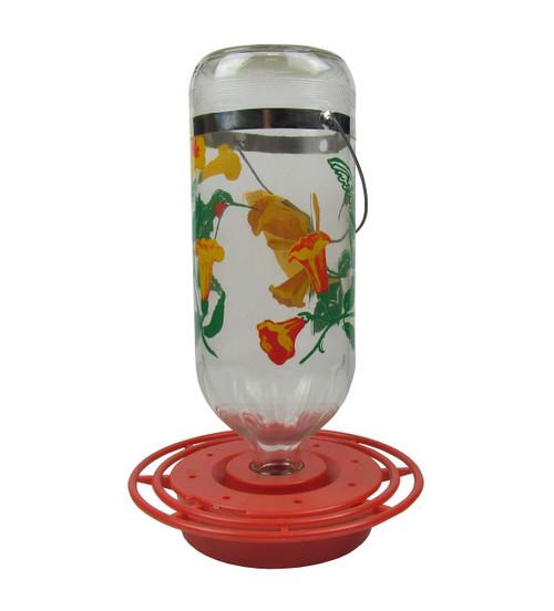 Best-1 BEST32HB Flowers Hummingbird Feeder 32 Ounce Glass Bottle, Plastic Base