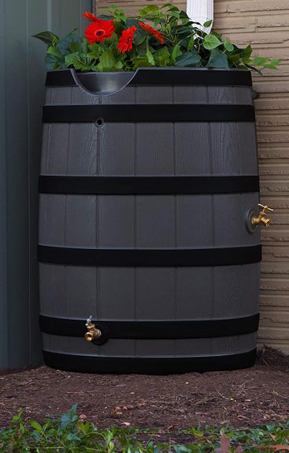 Good Ideas Rain Wizard 50-Gallon Rain Barrel with Darkened Ribs and Planter Top, Assorted Colors