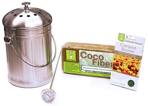 Good Ideas Compost Wizard Stainless Steel Starter Kit