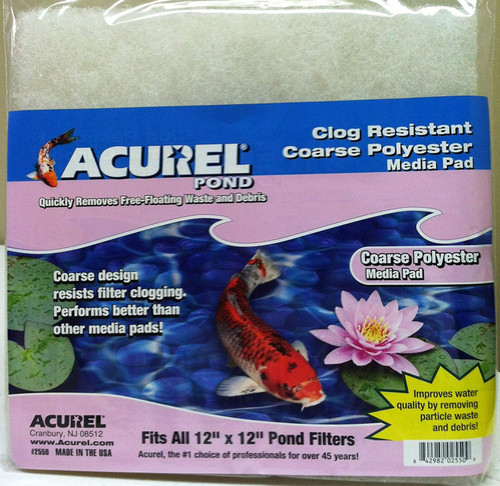 Acurel 2550 Coarse Polyester Media Pads for Ponds, 12-Inch by 12-Inch