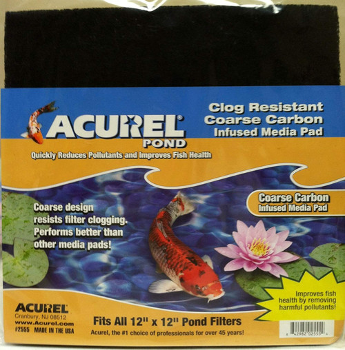Acurel 2555 Coarse Carbon Media Pads for Ponds, 12-Inch by 12-Inch
