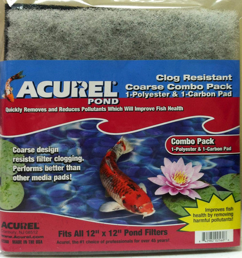 Acurel 2560 Combo Pack Coarse Polyester and Carbon Media Pads for Ponds, 12-Inch by 12-Inch