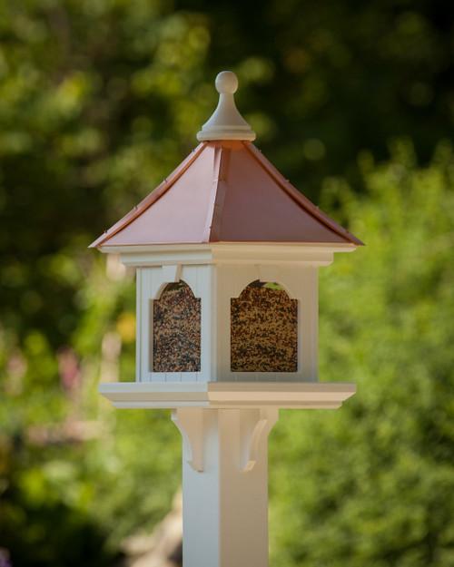 "Estate Post Mount Copper Roof Bird Feeder - X-Large Capacity 16 X 16 X 26"""