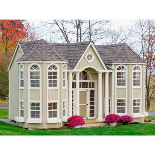 LITTLE COTTAGE COMPANY 10 FT. X 16 FT. GRAND PORTICO MANSION WOOD PLAYHOUSE PREBUILT