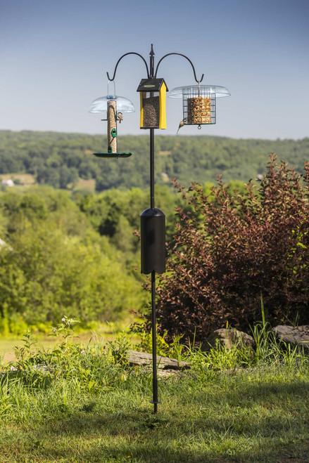 "Erva Squirrel Proof Super Tall Trio Bird Feeder Decorative Pole System With Twist in Ground Socket 98"" Tall (FP5TLM3BX)"