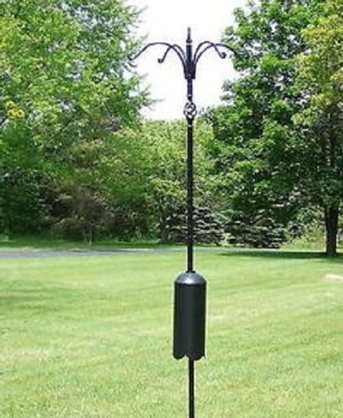 "Erva Squirrel Proof Super Tall Quad Bird Feeder Decorative Pole System With Twist in Ground Socket 98"" Tall"