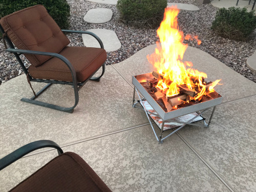 Pop-Up Fire Pit Portable and Lightweight 24 Inch Go Anywhere Fire Bowl  With Heat Sheild
