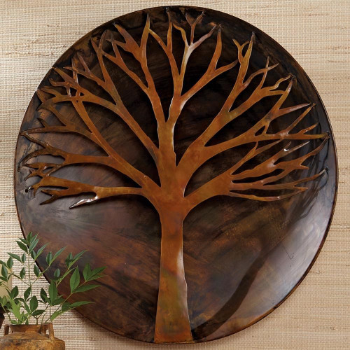 Ancient Graffiti Raised Tree Flamed Wall Disc 24 inch AG83241