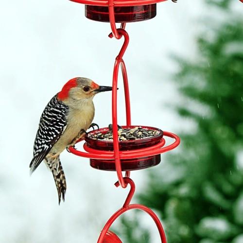 Couronne Red Triple Sphere Hanging Bird Feeder CM047200R3P