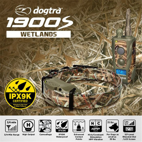 Dogtra 1900S Wetlands Camo Waterproof Remote Dog Trainer 3/4 Mile Free Kydex Holster