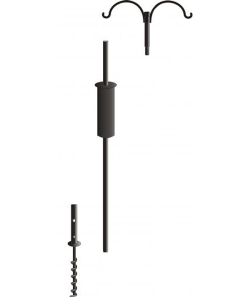 """Decorative 4 Arm  Pole System and Squirrel Baffle  With Twist in Ground Socket 60"""" Tall"""