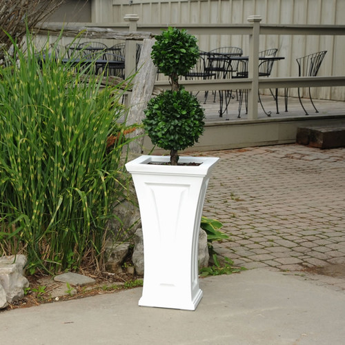 """Mayne Cambridge 28"""" Tall Plante White 4834-W Mayne Cambridge Tall Planter has a timeless and classic look to compliment any outdoor living space, with its curved shape, this planter offers a unique blend of modern and traditional design."""