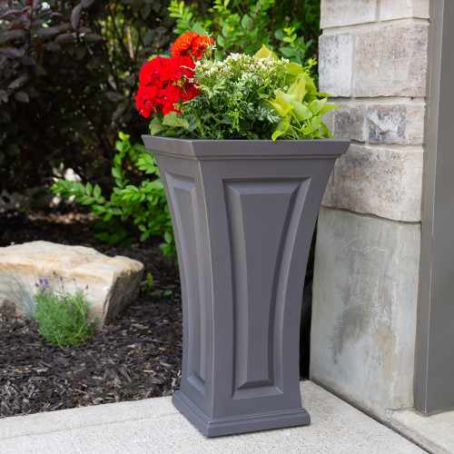 """Mayne Cambridge Tall Planter has a timeless and classic look to compliment any outdoor living space, with its curved shape, this planter offers a unique blend of modern and traditional design.  Mayne Cambridge 28"""" Tall Plante Graphit 4834-GRG"""