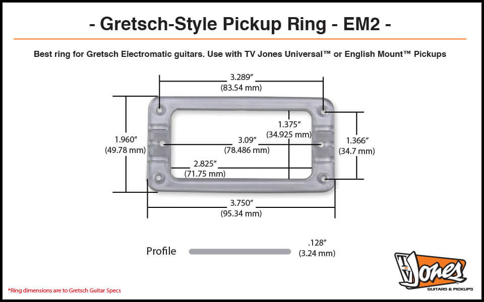 TV Jones EM2 Gretsch-style Pickup Ring