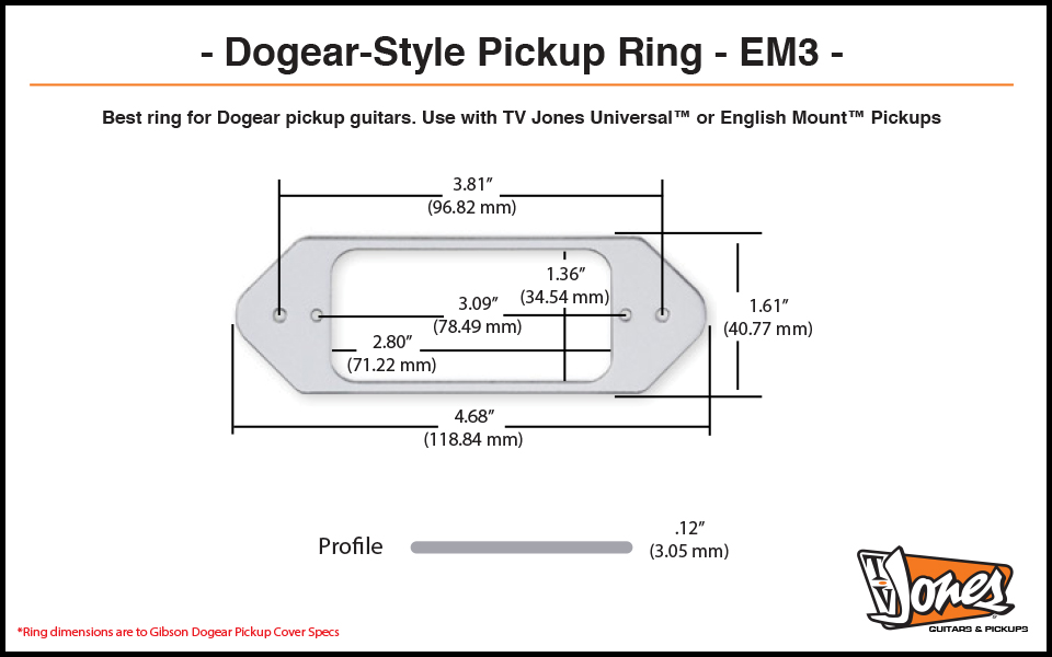 TV Jones EM3 Dogear Ring Dimensions