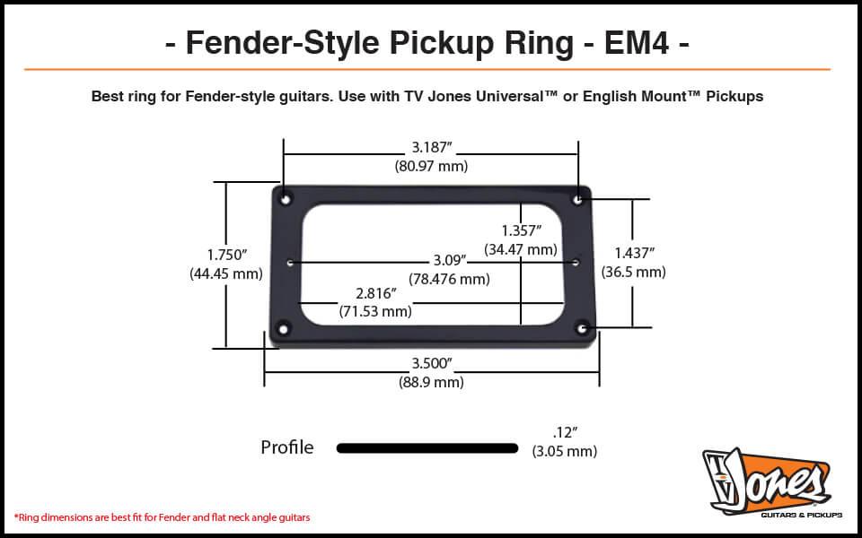 TV Jones EM4 Pickup Ring Dimensions