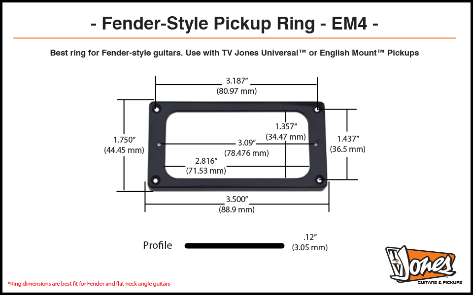 TV Jones EM4 Pickup Ring Dimensions