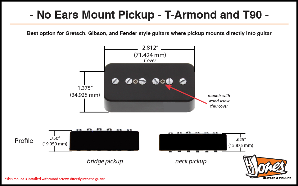 T-Armond No Ears Mount Dimensions