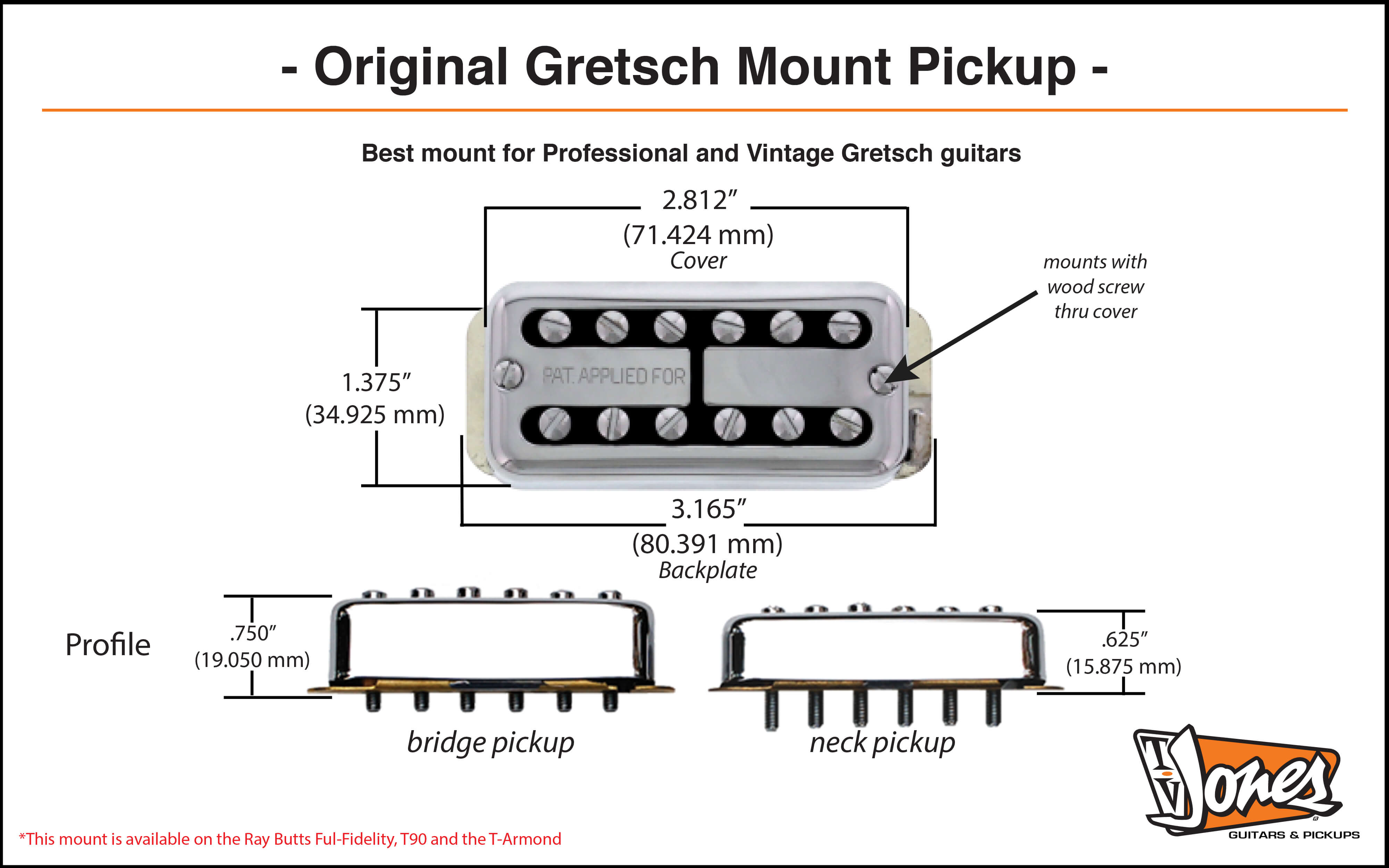 Original Gretsch Mount Dimensions