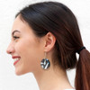 Abstract Painted Acrylic Dangle Earrings - Half Circle Design (Night Garden Colorway)