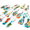 Abstract Painted Acrylic Dangle Earrings - Rounded Bar Design (Carnival Colorway)