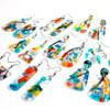 Abstract Painted Acrylic Dangle Earrings - Teardrop (Carnival Colorway)