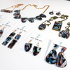 Abstract Painted Acrylic Necklace - Horizontal Bar Design (Night Garden Colorway)