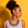 Abstract Painted Acrylic Statement Necklace - Petal Design (Night Garden Colorway)
