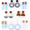 Acrylic Dangle Earrings - Hemisphere Design (Rosewood / Frost / Gray)