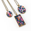 Abstract Painted Acrylic Pendant Necklace (Theater District Colorway)