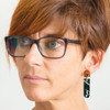 Abstract Painted Acrylic Dangle Earrings - Latitude Design (Juniper Colorway)