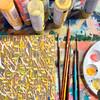 Abstract Painted Acrylic Dangle Earrings - Teardrop Design (Lemonade Colorway)