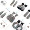 Sparkle Acrylic Dangle Earrings - Hollow Oval Design