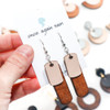 Wood & Leather Dangle Earrings - Rounded Rectangle Layers (Pale Pink / Lacewood)