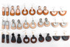 Wood & Leather Dangle Earrings - Moondrop Layers (Black / Cocobolo)