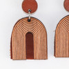 Wood & Leather Dangle Earrings - Arch Layers (Alder / Sienna)