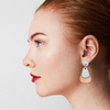 Wood & Leather Dangle Earrings - Dewdrop Layers (Pale Blue / Alder)